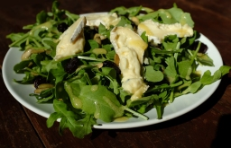 Arugula Salad with Cambozola, Dried Cherries, & Pumpkin Seeds