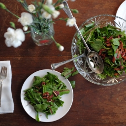 Dandelion Salad with Hot Bacon Dressing & Pecans