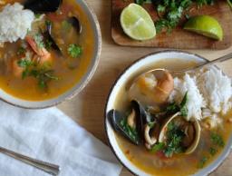 Fisherman's Stew with Lemongrass, Cilantro, & Mint