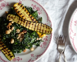 Kale Salad with Grilled Zucchini, Hazelnuts, and Pecorino