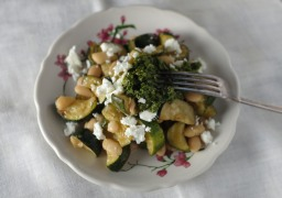 Zucchini with Cannellini Beans, Feta, and Basil-Parsley-Mint Pesto