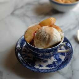 Spiced White Peaches with Ice Cream