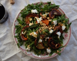 Honeynut Squash Salad with Fried Sage, Goat Cheese, & Hazelnuts