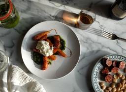 Harissa Roasted Carrots with Burrata & Carrot-Top Pesto