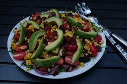 Grilled Summer Vegetable Salad with Avocado & Bacon