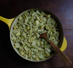Pasta with Potatoes, Savoy Cabbage, & Garlic Scape Pesto