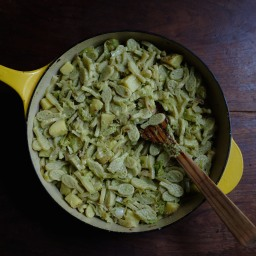 Pasta with Potatoes, Savoy Cabbage, & Garlic Scape Pesto