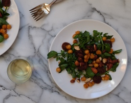 Watercress Salad with Chorizo, Fried Chickpeas, & Almonds