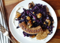 Grilled Sausages & Pearl Onions with Red Cabbage & Pickled Mustard Seeds