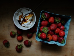 Strawberries with Labneh Whipped Cream & Saba