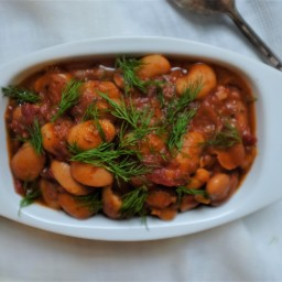 Giant Beans with Tomatoes, Ouzo, & Dill