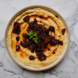 Yellow Split Pea Dip with Caramelized Onions & Spanish Chorizo