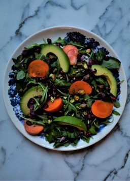 Persimmon, Avocado, Pomegranate, & Pistachio Salad
