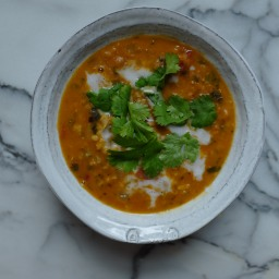 Curried Lentil, Tomato, & Coconut Soup