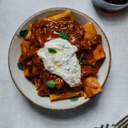 Rigatoni with Lamb Shoulder Ragu & Whipped Ricotta
