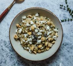 Savory Oatmeal with Mushrooms, Feta, & Hazelnuts